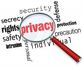 A magnifying glass hovering over the word Privacy and other related terms such as secrety, protection, security and identity