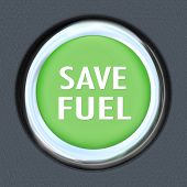 A green car start button with words Save Fuel to symbolize reducing usage of gasoline or other fuel to be environment friendly and use power and energy in a smarter way