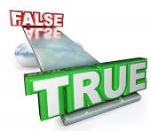 The words True and False on a see-saw balance to illustrated that the truth carries more weight than