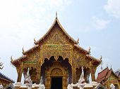 A Golden Buddhist Monastery In Wat Baan Den In Chiang Mai, Thailand Built By Northern Thai Architect