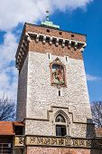 Medieval St.Florian's Gate tower in the Krakow