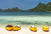 kayaks on a beach  at Angthong national marine park near Koh Samui, Thailand