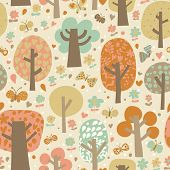 Outdoor concept seamless pattern. Cartoon trees and butterflies in vector background. Seamless patte