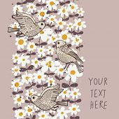 Vintage floral seamless pattern with birds and camomile. Seamless pattern can be used for wallpaper,