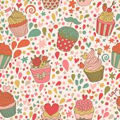 Sweet concept seamless pattern. Tasty background made of cupcakes. Seamless pattern can be used for