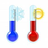 Thermometer hete en koude pictogram.