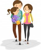 Illustration of Stickman Family with the Father Carrying their Daughter while Walking