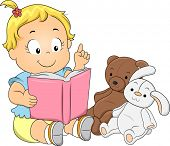 Illustration of a Happy Toddler Girl Playing Teacher Reading a Book to her Toys