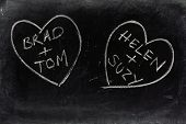 stock photo of homosexuality  - Two love hearts drawn on a used blackboard with the names of same sex couples as a concept for homosexual or gay relationships and partnerships - JPG