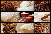 Baking collage of fresh ingredients includes sugars, spices, chocolate chips, coconut flakes, pecans