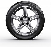 picture of alloy  - 3d rendering of a single car tire on a white background - JPG
