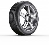 3d rendering of a single car tire on a white background