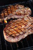 T-bones steak on grill