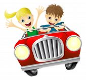 Cartoon Man And Woman In Car