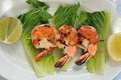 Jumbo shrimps on skewer with sweet garlic chili sauce