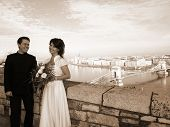 Engagement With Husband And Wife At Budapest City At Sephia