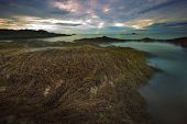 pic of sea-scape  - seaweed on rock beach and sunset sky use for natural scene of sea scape - JPG