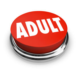pic of pornography  - A round red button with the word Adult to symbolize mature restricted content such as pornography or other material meant for older audiences - JPG