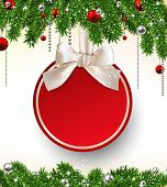 Holiday background with fir twigs and red paper christmas ball. Vector illustration.