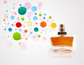 Perfume bottle spraying colorful bubbles