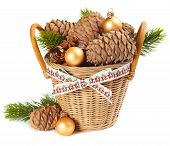 Basket with Christmas ornaments