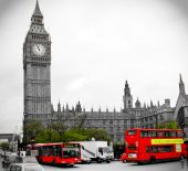 picture of big-ben  - Red bus is highlighted against Big Ben - JPG