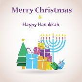 stock photo of menorah  - happy Hanukkah and happy holidays - JPG
