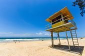foto of lifeguard  - Lifeguard hut on the beach - JPG