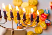 stock photo of hebrew  - A still life composed of elements of the Jewish Chanukah/Hanukkah festival.