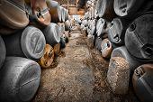 Plastic Barrels Of Toxic Waste