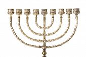 Candlestick with nine arms and white candles( chanukkiah / hanukiah for chanuka / hannukah - ????? )