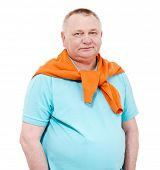 image of pullovers  - Confident middle aged man with draped over his shoulders orange pullover isolated on white background - JPG