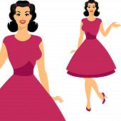image of 1950s style  - Beautiful pin up girl 1950s style - JPG