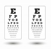 picture of snellen chart  - sharp and unsharp snellen chart with shadow on white background - JPG