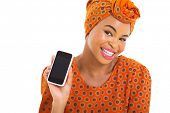 foto of traditional attire  - beautiful young african woman showing her smart phone - JPG