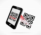 stock photo of qr-code  - Smartphone scanning QR code abstract vector illustration - JPG