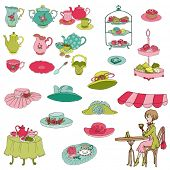 English Tea Party Set - for design, scrapbook, photo booth - in vector