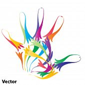 Vector concept or conceptual abstract human child or kid hand print made of ornament colorful lines isolated on white background