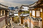 Seoul, South Korea at the Bukchon Hanok historic district.