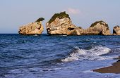 stock photo of zorro  - Rocks on the beach Porto Zorro on The island of Zakynthos - JPG