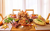 stock photo of fall day  - Festive dinner at home - JPG