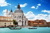 image of old boat  - Grand Canal and Basilica Santa Maria della Salute - JPG
