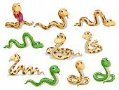 stock photo of craw  - Illustration of a group of voluptuous snakes on a white background - JPG