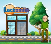 Illustration of an old man standing in front of the locksmith building
