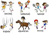 Illustration of the indoor and outdoor activities of on a white background