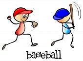 Illustration of the men playing baseball on a white background