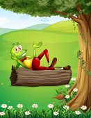Illustration of a frog relaxing above the trunk under the tree