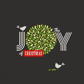 stock photo of aquifolium  - Christmas background with cute birds and the joy of Christmas slogan - JPG