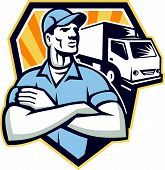 image of moving van  - Illustration of a removal man delivery guy with moving truck van in the background set inside half circle done in retro style - JPG