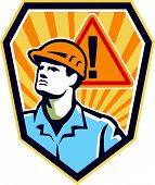Contractor Construction Worker Caution Sign Retro